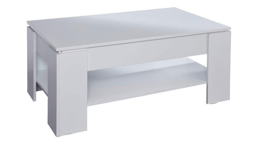 Couchtisch UNIVERSAL Tisch mit Funktion in weiß Melamin