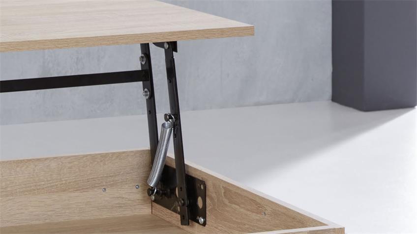Couchtisch UNIVERSAL in Eiche Sägerau Tisch mit Funktion