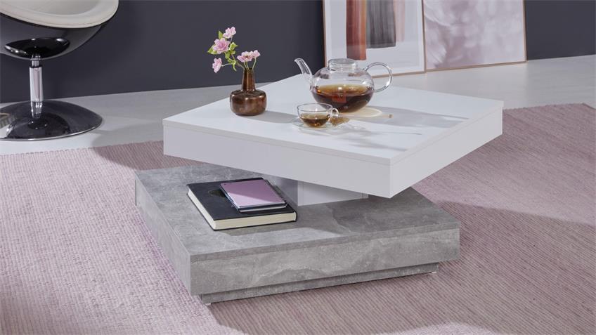 Couchtisch UNIVERSAL in Beton und weiß Tisch drehbar