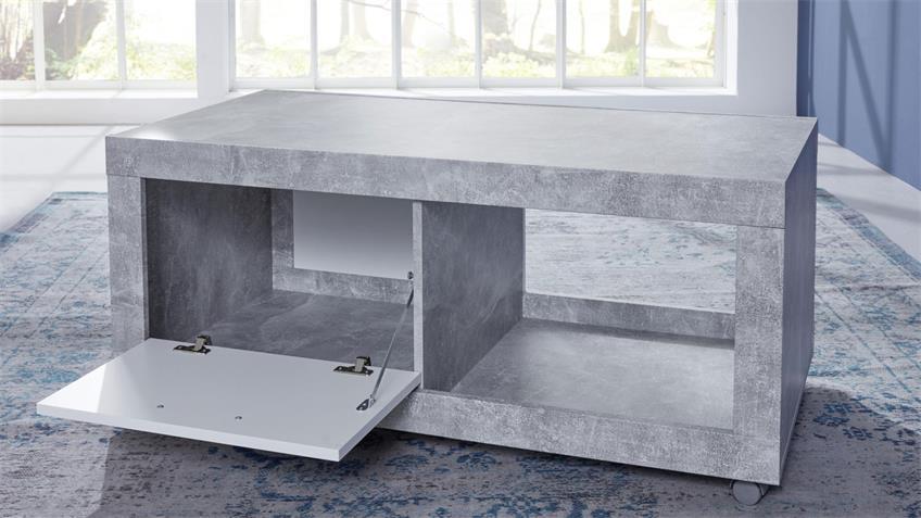 Couchtisch UNIVERSAL Tisch Rollen Beton Stone und weiß