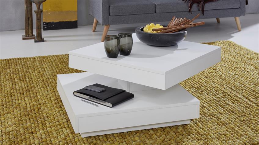 Couchtisch UNIVERSAL Tisch drehbar weiß Beistelltisch