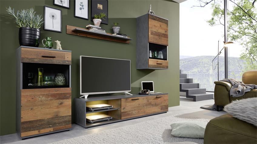 Wohnwand MANGO Anbauwand in Old Wood und Matera 246x182