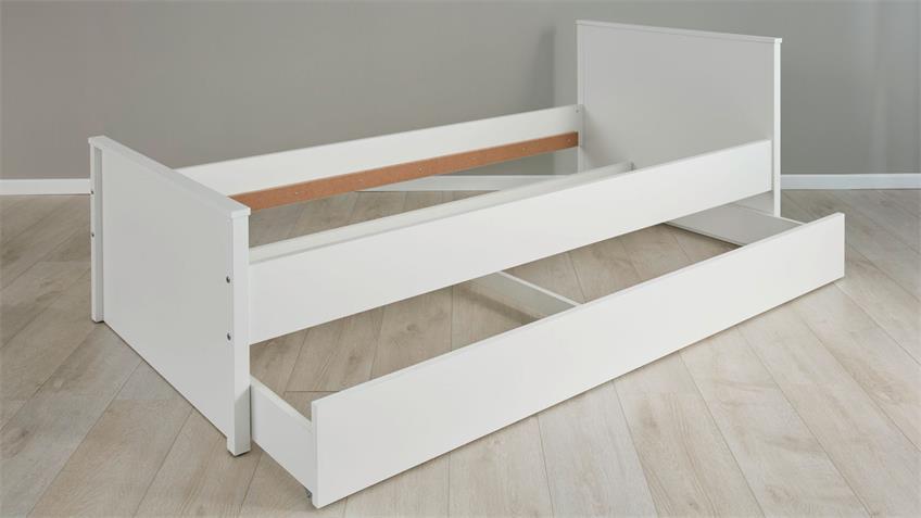 Bett OLE Jugendzimmer mit Bettkasten in weiß 90x200 cm