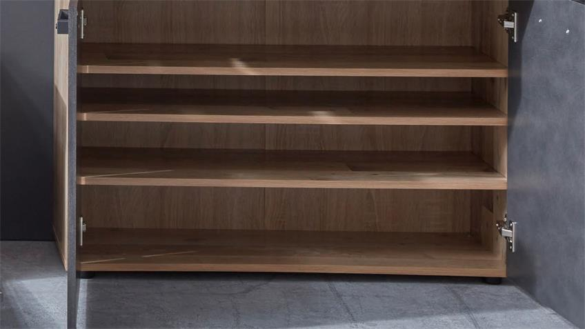 Schuhschrank TAILOR Schrank Matera dunkelgrau Pale wood
