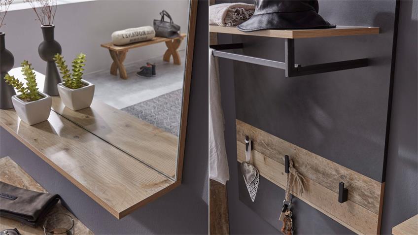 Garderobe Set TAILOR 5-teilig Matera dunkelgrau Pale wood