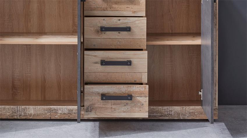 Kommode 3 TAILOR Schrank in Matera dunkelgrau Pale wood