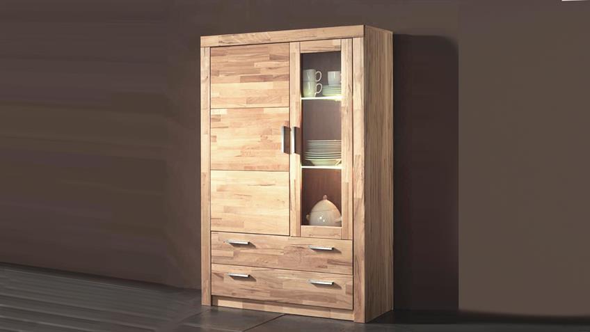 vitrine simone schrank in kernbuche teilmassiv 160cm hoch. Black Bedroom Furniture Sets. Home Design Ideas