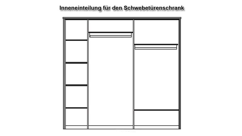 Schwebetürenschrank NICOLE in Wildeiche teilmassiv mit Spiegel 239x209