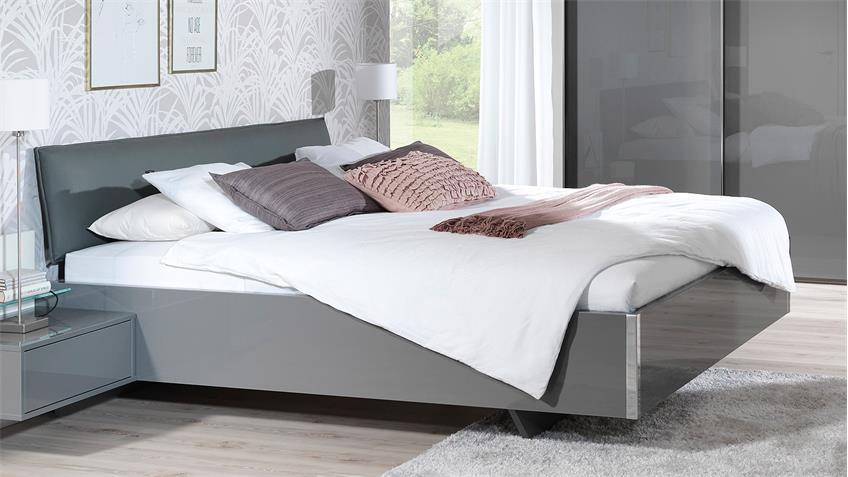 Bett volcano bettgestell futonbett grau hochglanz for Bett grau 180x200