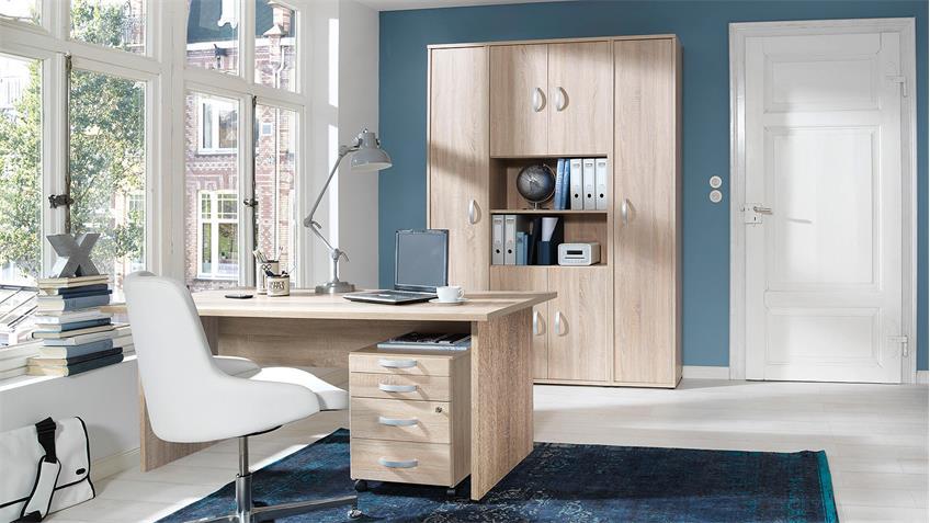 Büroset BÜRO COMBI+ Schreibtisch Schrank Container in Wildeiche