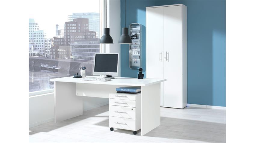 Büroset BÜRO COMBI+ Schreibtisch Schrank Container Büromöbel in weiß
