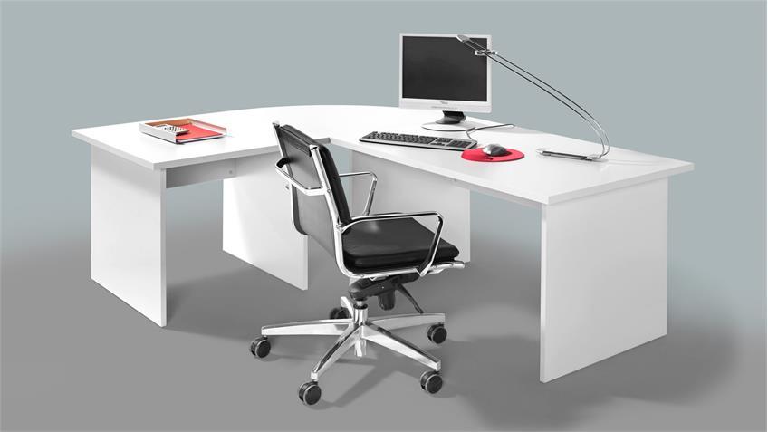 Eckschreibtisch BÜRO COMBI+ Schreibtisch Büromöbel in weiß 240x160 cm