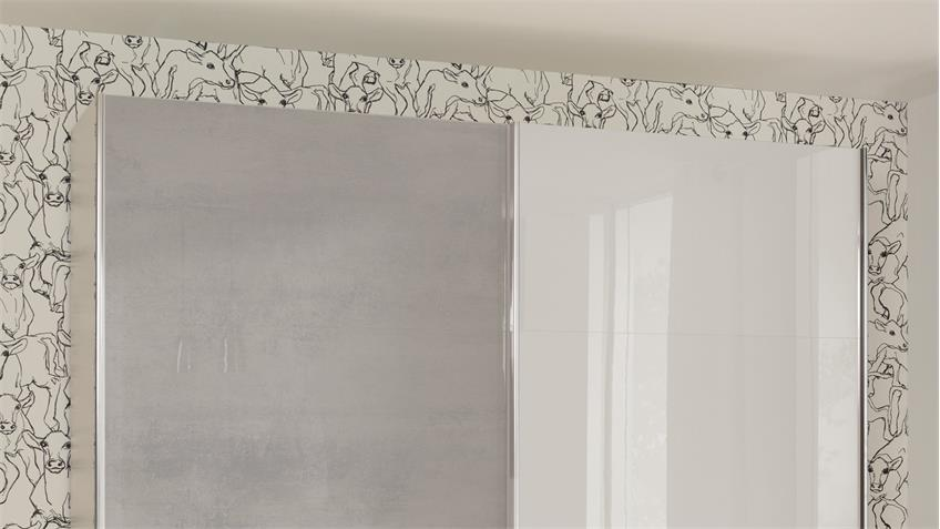 Schwebetürenschrank VARIANTA 4 in weiß Beton Hochglanz lackiert 195 cm