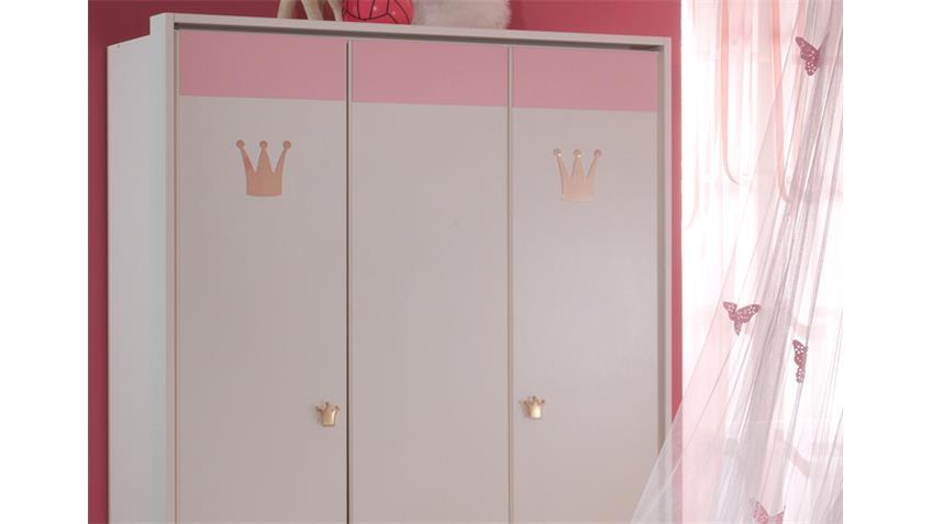 Kleiderschrank CINDERELLA Babyzimmer in weiß und rosé