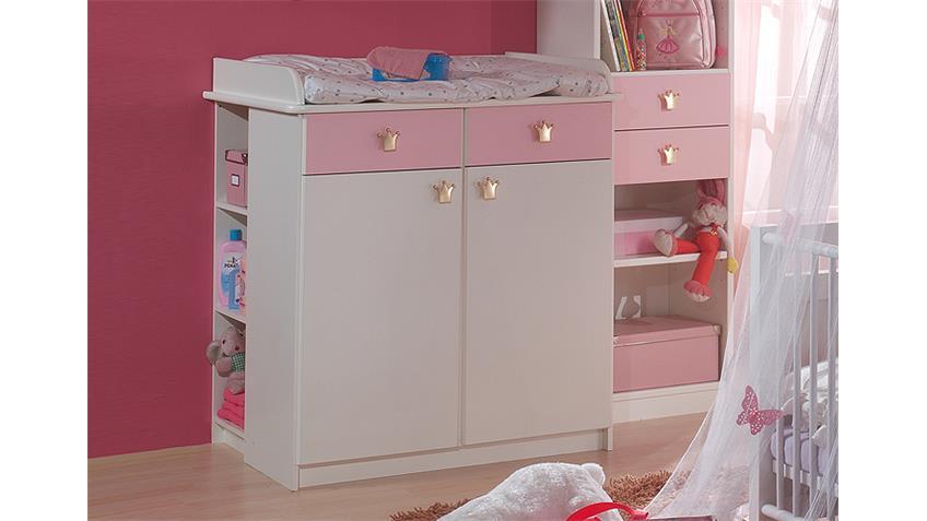 Wickelkommode CINDERELLA Babyzimmer in weiß und rosé