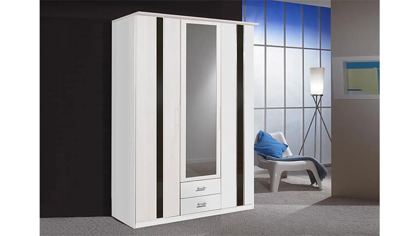 Kleiderschrank Weiß Schwarz Mit Spiegel ~ HIT Kleiderschrank 180 cm WeißSchwarz Hochglanz
