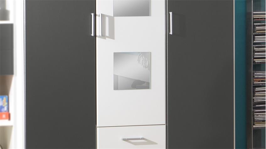 Kleiderschrank ROCCO Schrank in weiß und anthrazit mit Spiegel