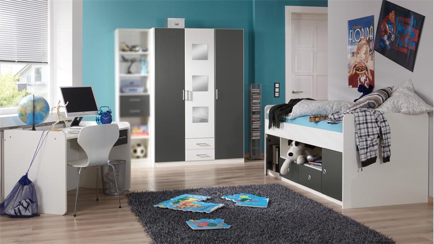 Jugendzimmer ROCCO Kinderzimmer in weiß und anthrazit 3-teilig