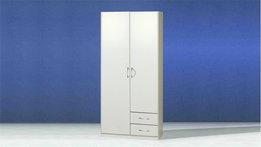 Kleiderschrank Sprint in Weiß mit 2 Türen und 2 Schubkästen
