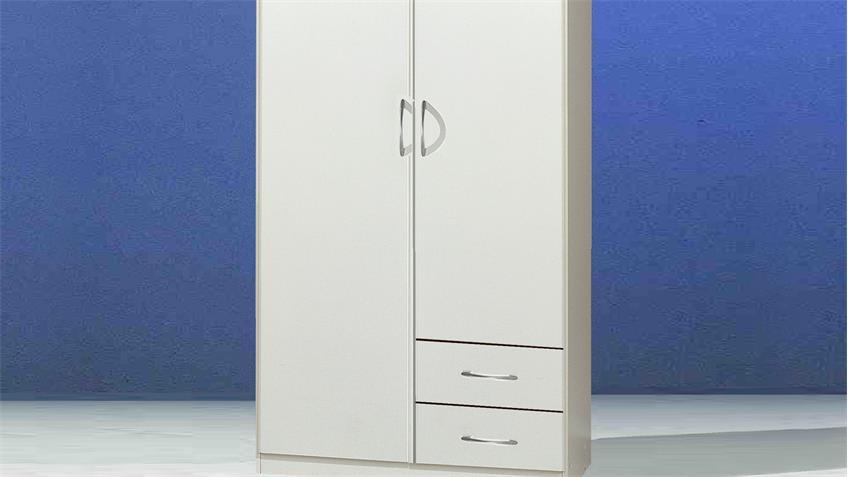 Kleiderschrank Sprint weißer Schrank 2-türig mit 2 Schubkästen