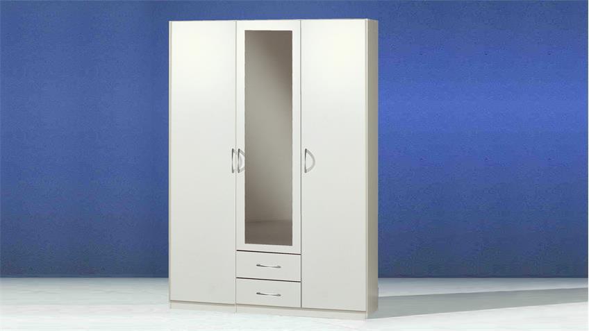 Kleiderschrank Sprint weiß 3-türig Spiegel und Schubkästen 135 cm