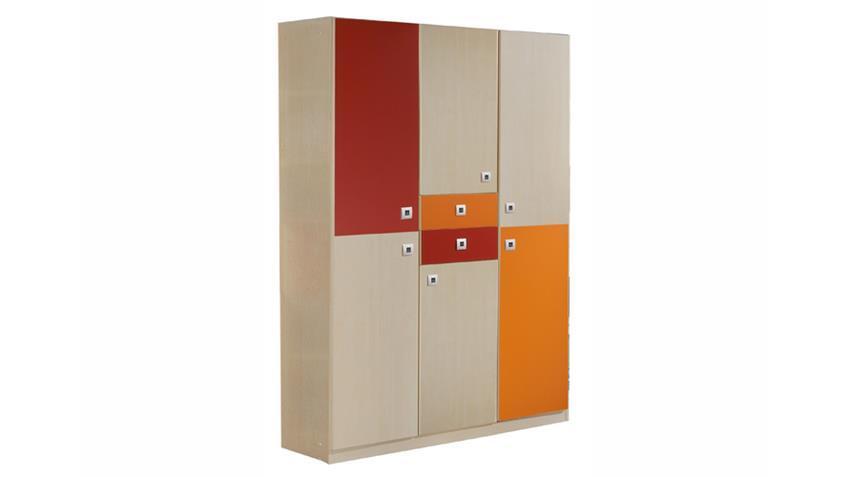 kleiderschrank sunny 6 t rig ahorn orange rot. Black Bedroom Furniture Sets. Home Design Ideas