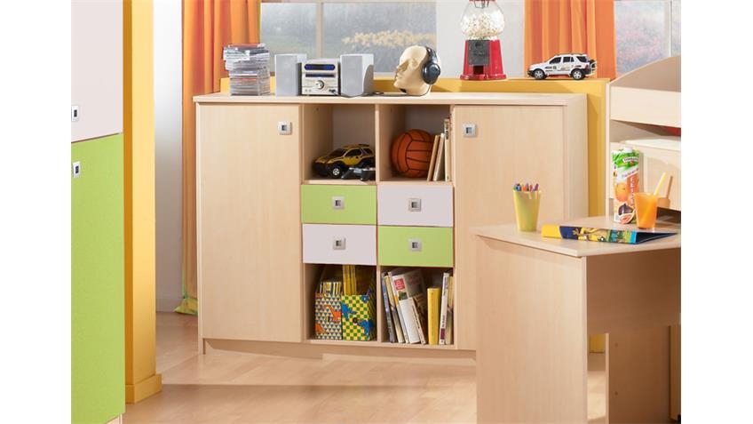 sideboard sunny kommode in gr n ahorn und wei dekor. Black Bedroom Furniture Sets. Home Design Ideas