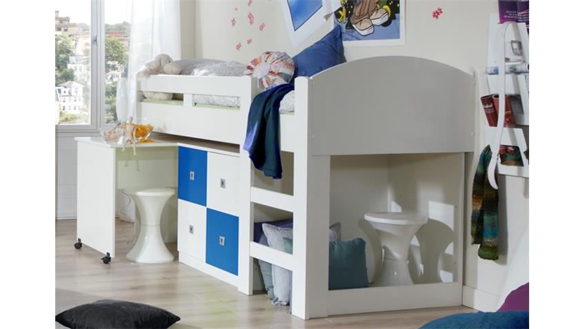 Jugendzimmer SUNNY 4-teilig Weiß und Blau