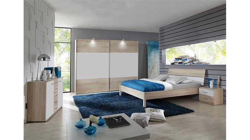 KAYO Schlafzimmer-Set Sonoma Eiche sägerau/ Weiß