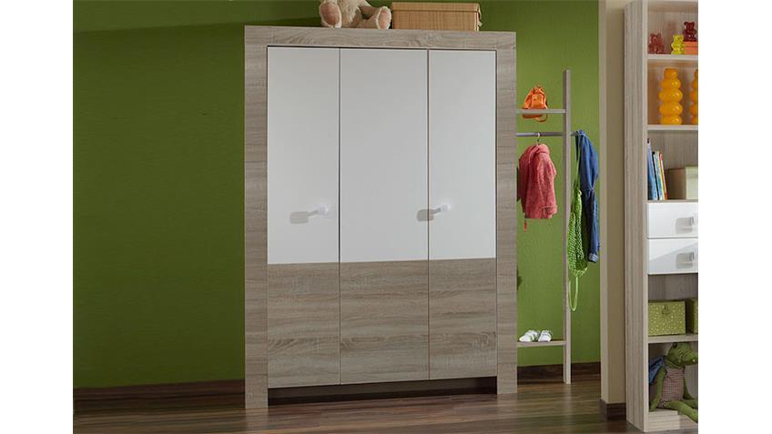 Kleiderschrank PIKA Sonoma Eiche sägerau und Weiß 135 cm