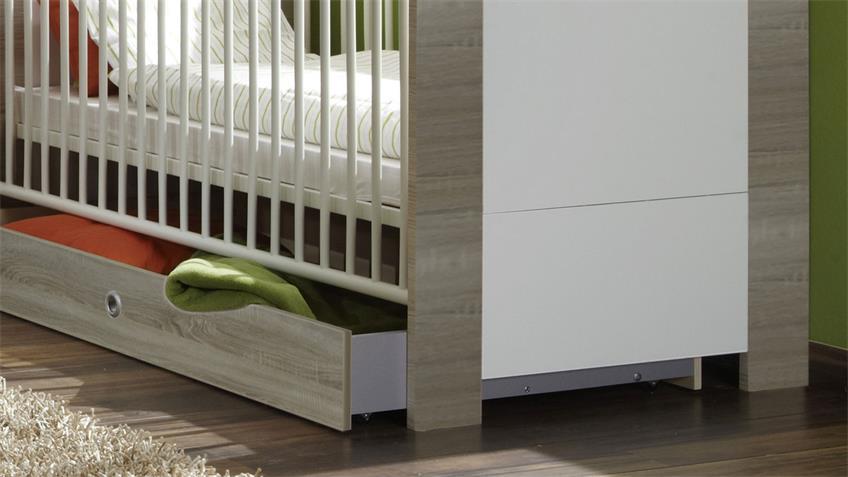 Babybett PIKA Sonoma Eiche sägerau und Weiß 70x140 cm
