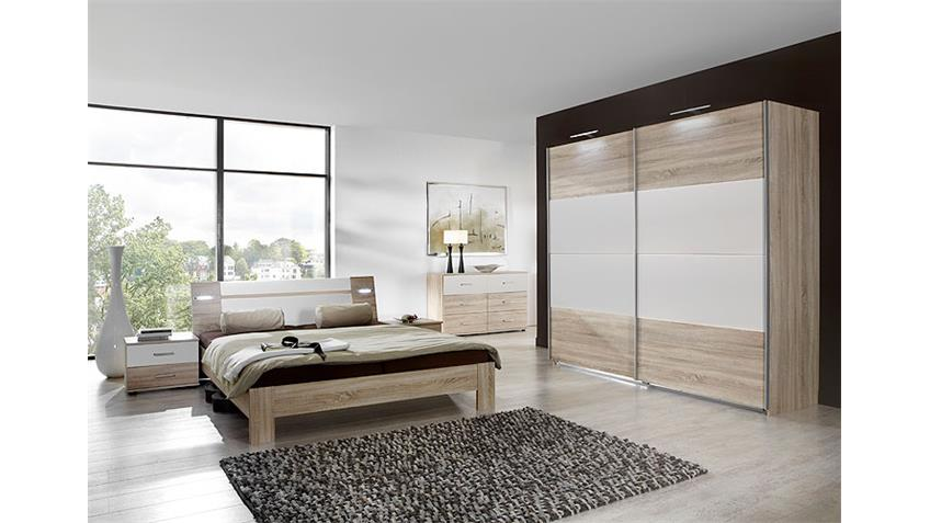 Schlafzimmerset VIZA Sonoma Eiche weiß inkl. Beleuchtung