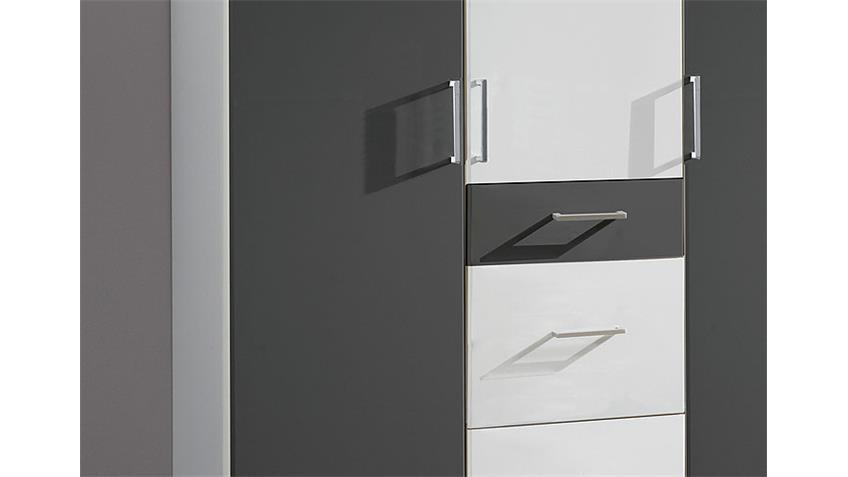 Kleiderschrank CLICK in Alpinweiß und anthrazit 135 cm