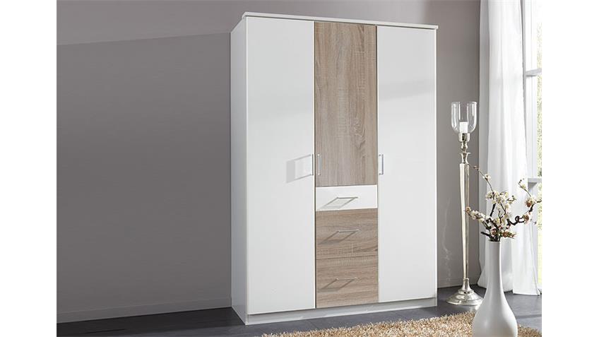 kleiderschrank click wei sonoma eiche s gerau 135 cm. Black Bedroom Furniture Sets. Home Design Ideas