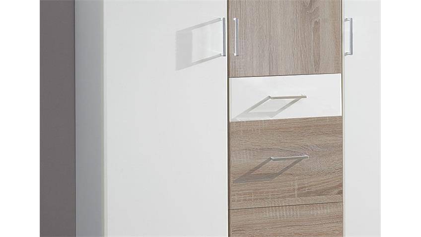 Kleiderschrank CLICK Weiß Sonoma Eiche sägerau 135 cm
