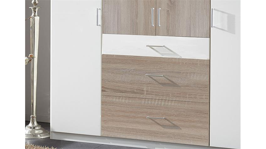 Kleiderschrank CLICK Weiß Sonoma Eiche sägerau 180 cm