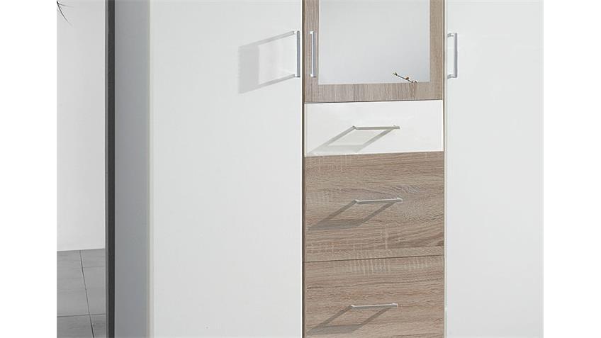Kleiderschrank CLICK Weiß Sonoma Eiche sägerau Spiegel 135