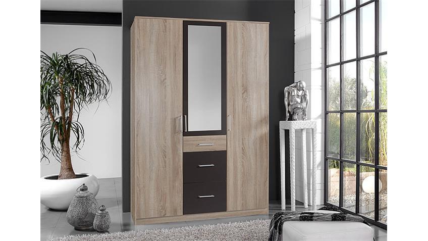 Kleiderschrank CLICK Sonoma Eiche sägerau Lava Spiegel 135