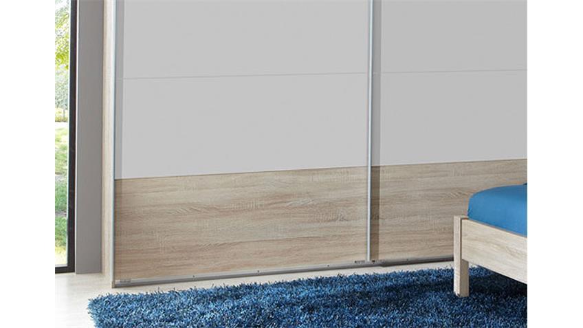 Schwebetürenschrank KAYO in Sonoma Eiche und Weiß 225 cm
