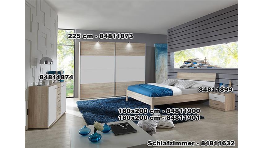 KAYO Schwebetürenschrank 225 cm Sonoma Eiche sägerau/ Weiß