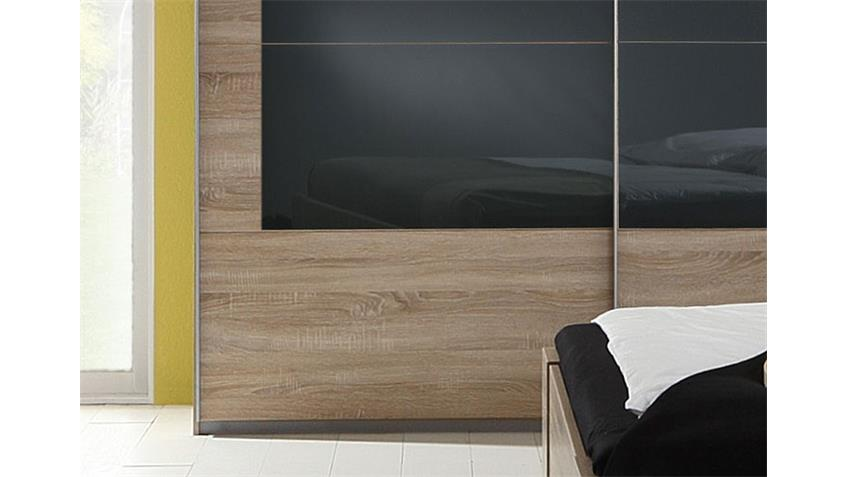 Schwebetürenschrank NERALA 225 cm Sonoma Eiche Glas grau