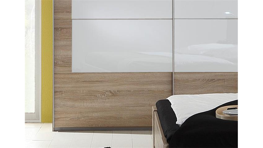 Schwebetürenschrank NERALA 225 cm Sonoma Eiche Glas weiß