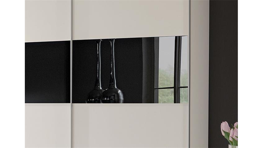 Schwebetürenschrank ZELDA weiß mit schwarzem Glas 179 cm