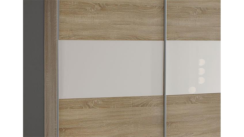 Schwebetürenschrank ZELDA 179 cm Sonoma Eiche Glas weiß