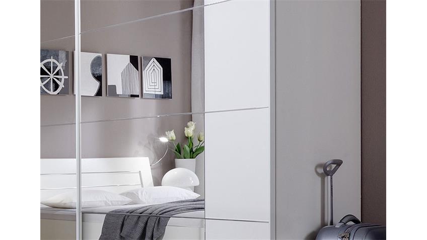 Schwebetürenschrank DAVOS 270 cm weiß mit Spiegel