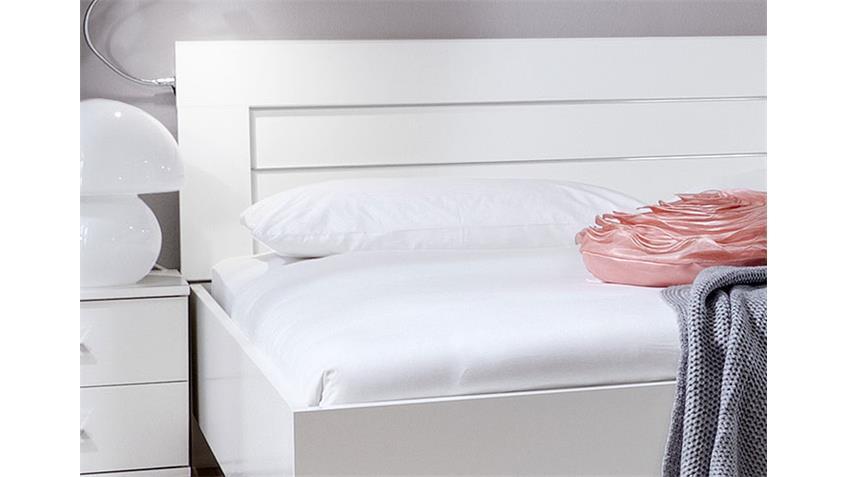 Futonbett DAVOS Bett 180x200 cm Alpinweiß und Chromfüße