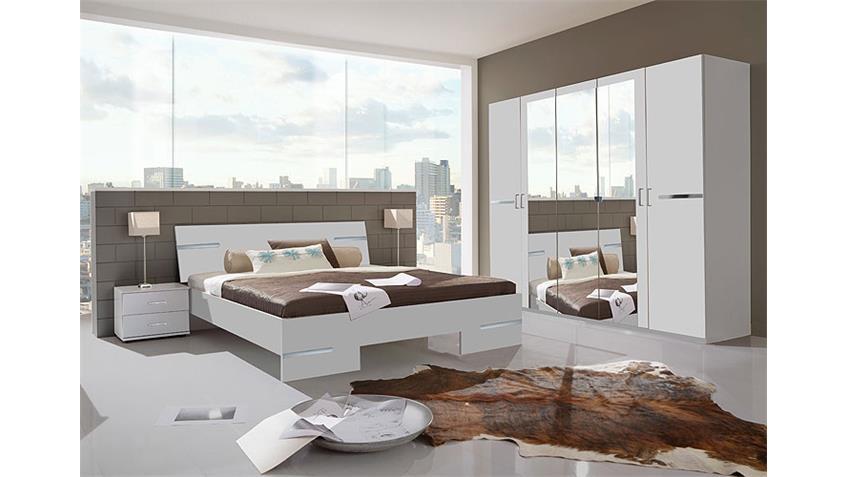 Schlafzimmer Anna Kombi 4 in alpinweiß Dekor und Chrom