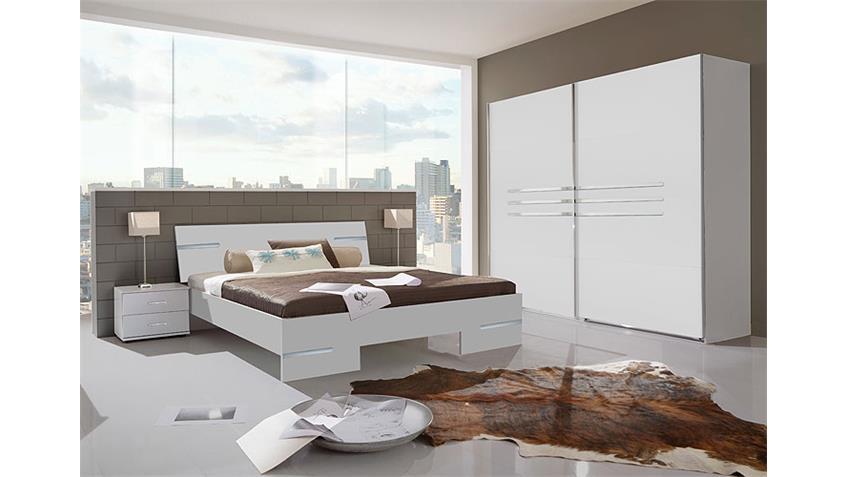 Schlafzimmer Anna Kombi 5 in alpinweiß Dekor und Chrom