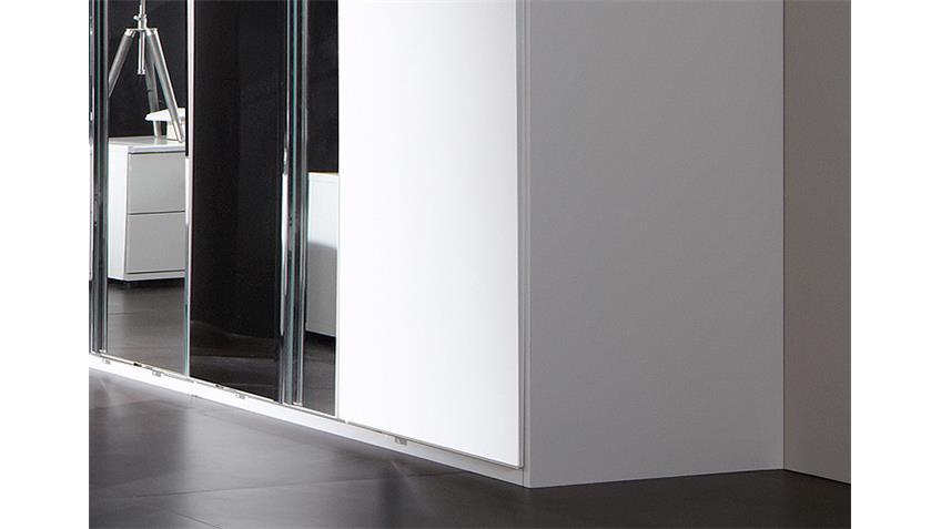 Kleiderschrank DAVOS 180 cm in alpinweiß Chrom mit Spiegel
