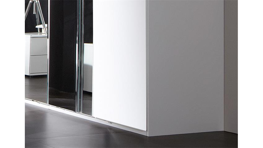 Kleiderschrank DAVOS 225 cm in alpinweiß Chrom mit Spiegel